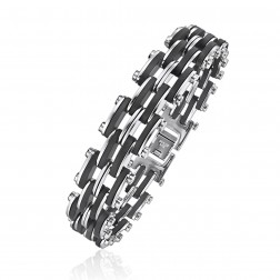 Mens Stainless Steel Train Track Patterned Bracelet