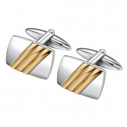 Two Toned Raised Stripe Cufflinks in Stainless Steel
