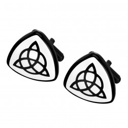 Black Plated Celtic Triquetra Cufflinks – Stainless Steel – Groomsman Gifts