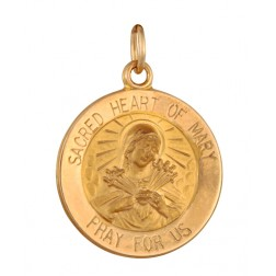 Sacred Heart of Mary 15.5mm 14K Yellow Gold Pendant Charm
