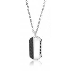 Stainless Steel with Carbon Fiber and Stones Pendant