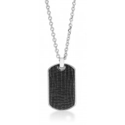 Stainless Steel Pendant with Leather and Cubic