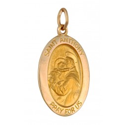 Saint Anthony Oval 21mm x 15mm 14K Yellow Gold Pendant Charm