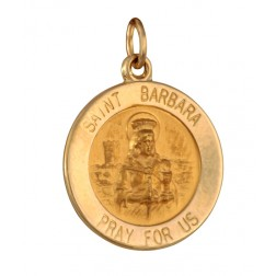 Saint Barbara 15.5mm 14K Yellow Gold Pendant Charm