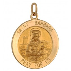 Saint Barbara 18.5mm 14K Yellow Gold Pendant Charm