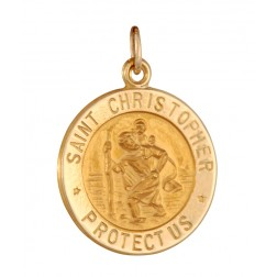 Saint Christopher 15.5mm 14K Yellow Gold Pendant Charm