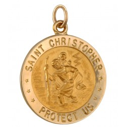 Saint Christopher 22mm 14K Yellow Gold Pendant Charm