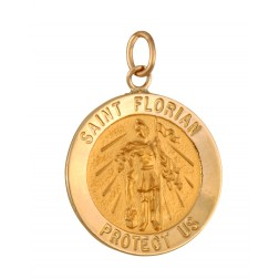 Saint Florian 18.5mm 14K Yellow Gold Pendant Charm