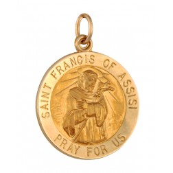 Saint Francis of Assisi 18.5mm 14K Gold Pendant Charm