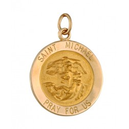 Saint Michael 15.5mm 14K Yellow Gold Pendant Charm