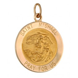 Saint Michael 18.5mm 14K Yellow Gold Pendant Charm
