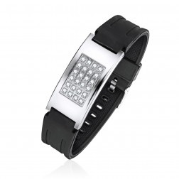 Mens Black Rubber Bracelet With Cubic Zirconas Bracelet