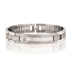 Stainless Steel ID Bracelet with Cubic