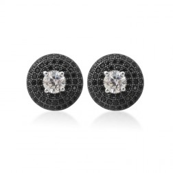 Sterling Silver Cubic Stud Earrings