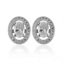 Sterling Silver Oval Halo Cubic Studs