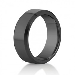 Beveled Edge Black Tungsten Wedding or Fashion Band – Comfort Fit