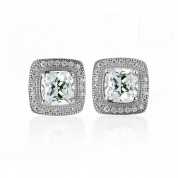 Sterling Silver Cushion Halo Cubic Studs