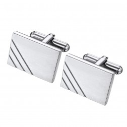 Dern Rectangle Cufflinks in Brushed Stainless with Accent Lines