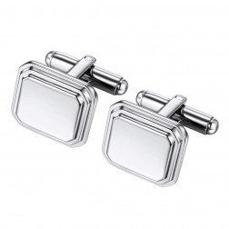 Tiered Staircase Octagonal Stainless Steel Cufflinks