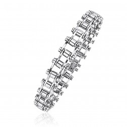 Mens Stainless Steel Barrel Links Bracelet